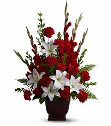 Red and White Spray from Crestwood Florist, your flower shop in Kansas City